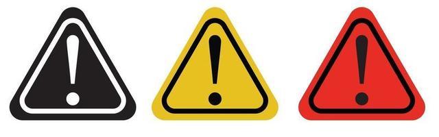 conjunto de ícones de cuidado, ponto de exclamação, sinais de aviso. vetor