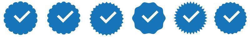 ícones de verificação de conta de mídia social. vetor