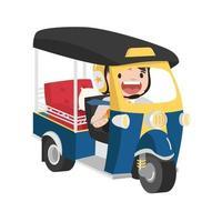 empresário andando em seu vetor de carro a motor tuk tuk tri