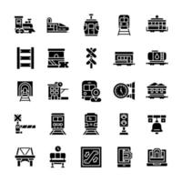 conjunto de ícones ferroviários com estilo glifo. vetor