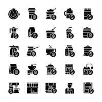 conjunto de ícones de café com estilo glifo. vetor