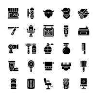 conjunto de ícones de barbearia com estilo glifo. vetor