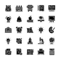 conjunto de ícones de volta às aulas com estilo glifo. vetor