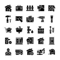 conjunto de ícones de casa e renovação com estilo glifo. vetor