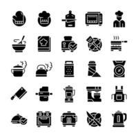 conjunto de ícones de culinária com estilo glifo. vetor