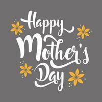Feliz dia das mães lettering flores de whit. vetor