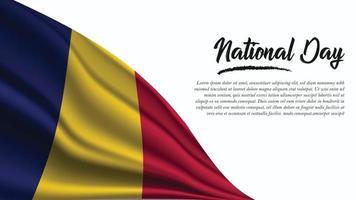 banner do dia nacional com fundo da bandeira do chad vetor