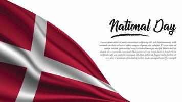 banner do dia nacional com fundo da bandeira da dinamarca vetor