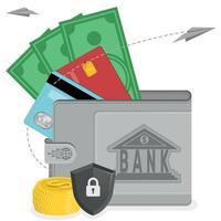 carteira com dinheiro e cartão de crédito vetor