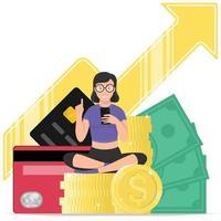 mulher com muito dinheiro vetor