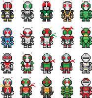 super-herói kamenrider do japão definir ilustração de pixel vetor