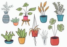 conjunto de ilustração colorida desenhada à mão em vasos vetor