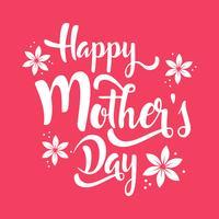 Feliz dia das mães lettering flores de whit vetor
