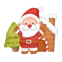 mão desenhada aquarela cartão de Natal com fofo Papai Noel. vetor