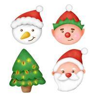 mão desenhada aquarela animais fofos cabeça usando chapéu de Papai Noel. vetor