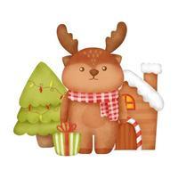 mão desenhada aquarela cartão de Natal com uma rena. vetor