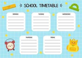 modelo de calendário dos desenhos animados para crianças com material escolar bonito. vetor