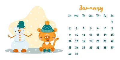 calendário para janeiro de 2022 com tigre bonito dos desenhos animados e boneco de neve vetor