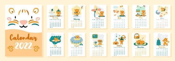 calendário vertical 2022 com tigres bonitos dos desenhos animados vetor