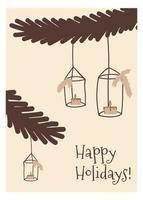 Boho natal de cartão em estilo doodle fofo vetor