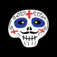 caveira com enfeites, cruzes para a celebração do halloween no méxico vetor