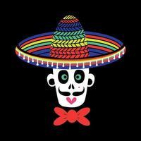 um crânio mexicano de um homem zumbi com um chapéu sombrero vetor