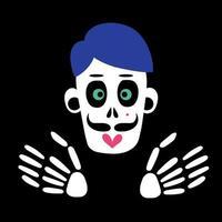 esqueleto e crânio de um homem zumbi. ilustração vetorial vetor
