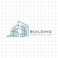 modelo de logotipo de construção civil com linha vetor