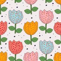 padrão floral com desenho bonito de flor desenhada à mão vetor