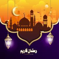 Design elegante de Ramadan Kareem com suspensão lanterna de Fanoos & fundo de Mesquita
