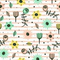 doodle flor padrão sem emenda com cores pastel vetor