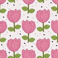 retro desenhado à mão flores rosas padrão sem emenda vetor
