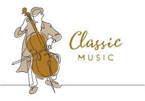 música clássica desenho de uma linha, um homem tocando instrumento de violoncelo vetor