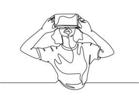 vr one line drawing, mulher usando realidade virtual vetor