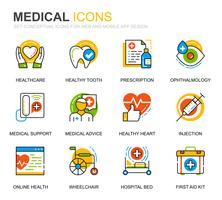 Conjunto simples de cuidados de saúde e ícones de linha médica para o site e aplicativos móveis