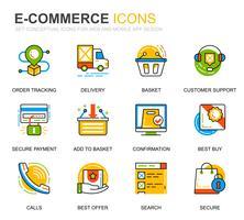 Conjunto simples de comércio eletrônico e ícones de linha de compras para o site e aplicativos móveis