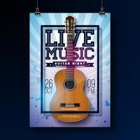 Design de folheto de música ao vivo vetor