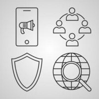 conjunto de ícones de seo ilustração vetorial eps vetor