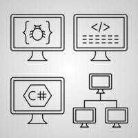 conjunto simples de ícones de linha de vetor de programação de computador