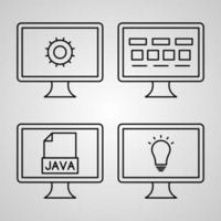 coleção de símbolos de programação de computador em fundo branco vetor