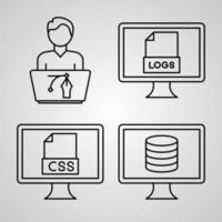 conjunto de ícones simples de ícones de linha relacionados à programação de computador vetor