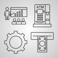 conjunto de ícones simples de ícones de linhas bancárias vetor
