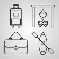 conjunto de ícones simples de ícones de linhas relacionadas a viagens vetor
