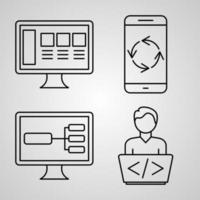 conjunto de ícones de design plano de linha fina de programação de computador vetor