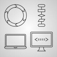conjunto de ícones vetoriais de programação de computador vetor