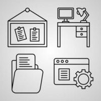 conjunto de ícones simples de ícones de linhas relacionadas ao escritório vetor