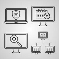 conjunto de ícones de linha de programação de computador coleção de símbolo vetorial vetor
