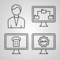 conjunto de ícones de programação de computador ilustração vetorial isolado branco vetor