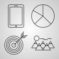 conjunto de ícones de linha de marketing de símbolo vetorial em estilo de contorno moderno vetor
