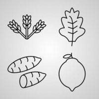 conjunto de ícones de design plano de linha fina de vegetais vetor